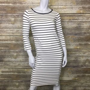 TopShop Maternity Stripes 3/4 Sleeve Pencil Dress